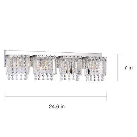 The Lighting Store Evelyn 4-light Chrome Finish Crystal Strand Wall Sconce