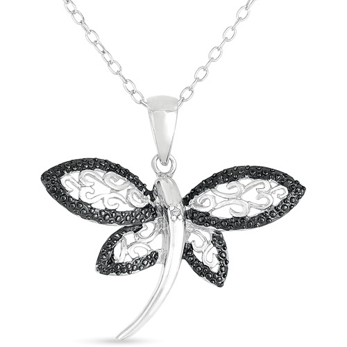 Black Diamond-Accent Sterling Silver Filigree Dragonfly Pendant, 18""