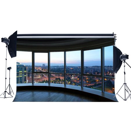MOHome Polyster 7x5ft Office Room Backdrop Skyscraper Modern Building Shining Lights New York City View Blue Sky Nature Photography Background Kids Adults Photo Studio Props