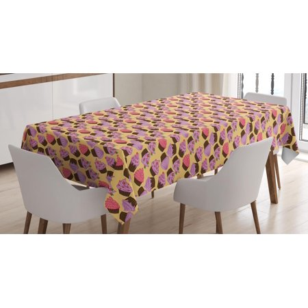 70s Themed Cake Ideas (Cupcake Tablecloth, Pastry Appetizing Yummy Baked Cake with Cream Birthday Celebrations Theme, Rectangular Table Cover for Dining Room Kitchen, 52 X 70 Inches, Fuchsia Yellow Brown, by)