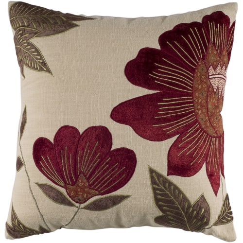 18 Inch X 18 Inch Beige Decorative Pillow With Appliqu Cotton Embroidered Details
