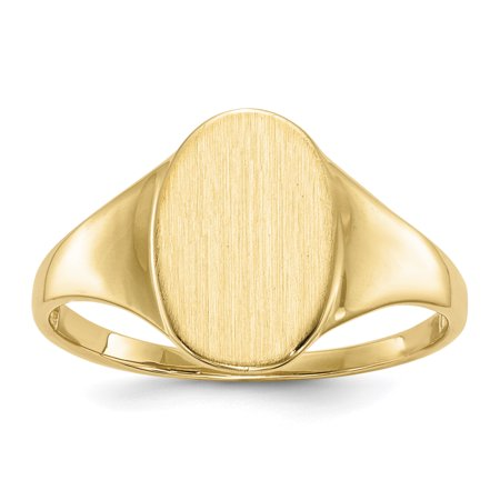 14k Yellow Gold 12.0x8.5mm Signet Band Ring Size 7.00 Gifts For Women For Her