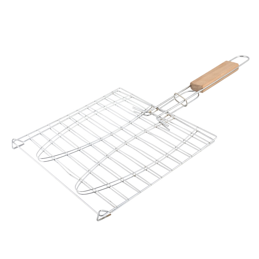 Wooden Handle Metal Mesh Fish Meat Barbecue Grill Grilling Folder Clip Clamp - image 2 of 2