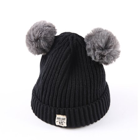901dbf815 Baby Kids Beanie For Boys Girls Cap Cotton Knitted Ball Warm Children Hats