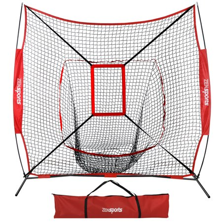 Zeny 7' x 7' Baseball Softball Practice Net Hitting Pitching Training Net w/Strike Zone,Bow Frame & Carry (Best Dot Net Training Videos)