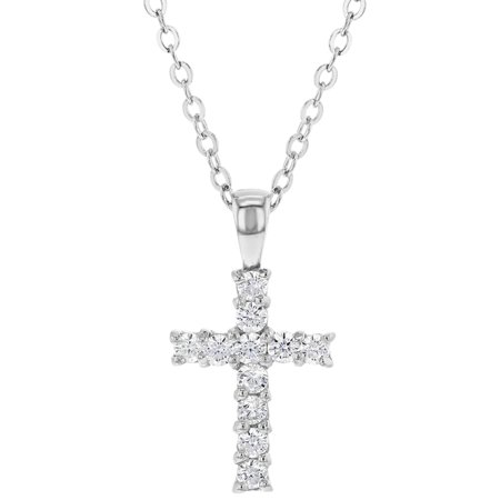 925 Sterling Silver Small Clear CZ Cross Necklace for Kids Little Girls 18