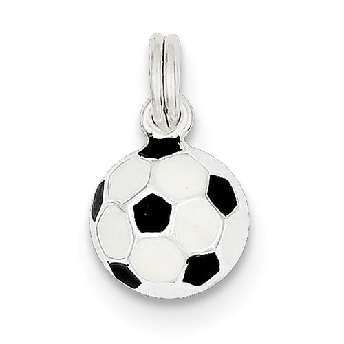 Sterling Silver Black & White Enameled Soccer Ball Charm (0.4in)
