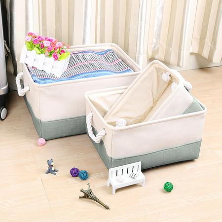 Foldable Fabric Storage Bin Basket Clothes Box Container Organizer Gray S - Gray Storage Bins