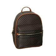 Women Girl Faux Leather Satchel Mini Backpack, POPPY Chic Holographic School Bookbag Waterproof Travel Daypack Modern Flair New Arrive, Black