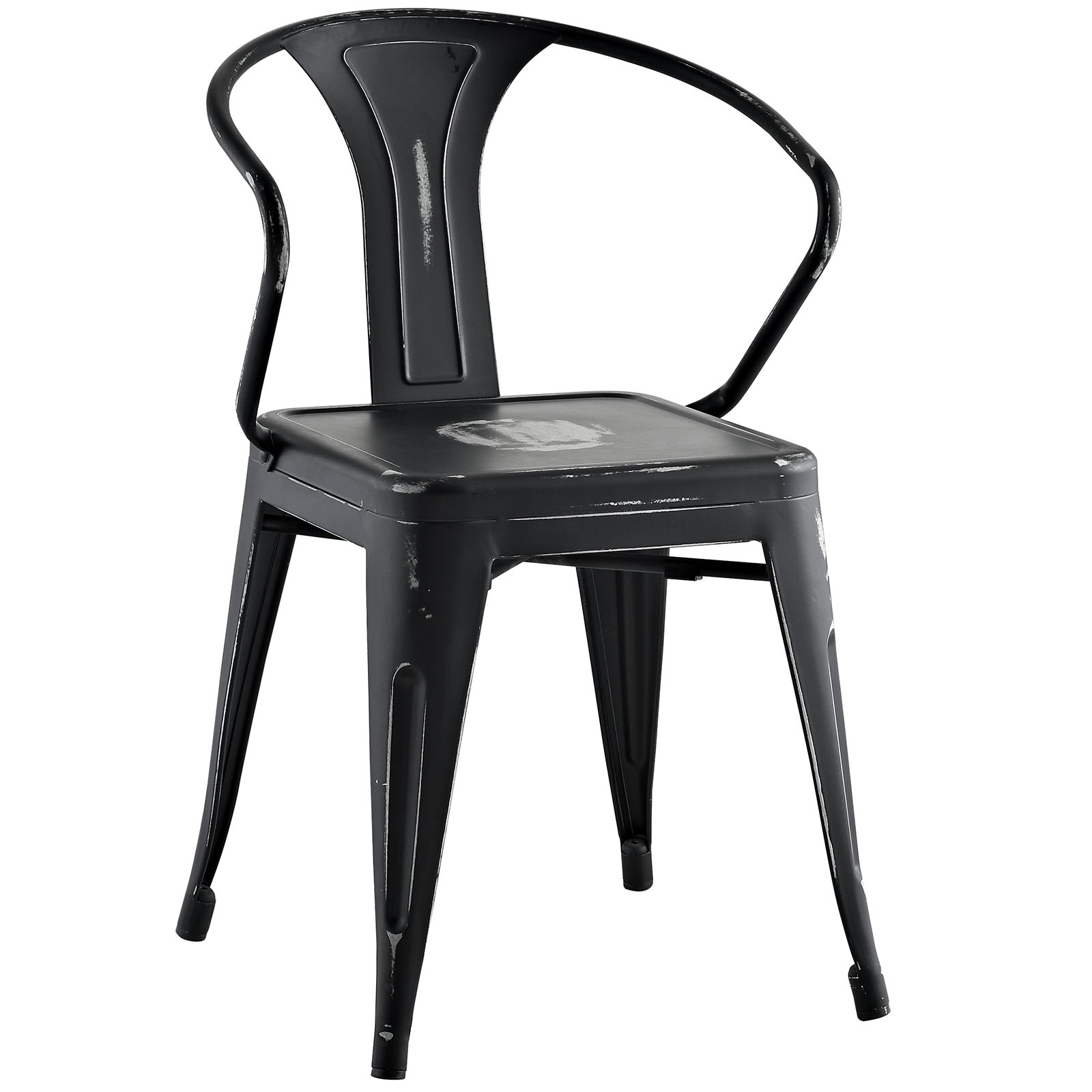 Modern Contemporary Urban Design Industrial Distressed Antique Vintage Style Kitchen Room Dining Chair, Black, Metal