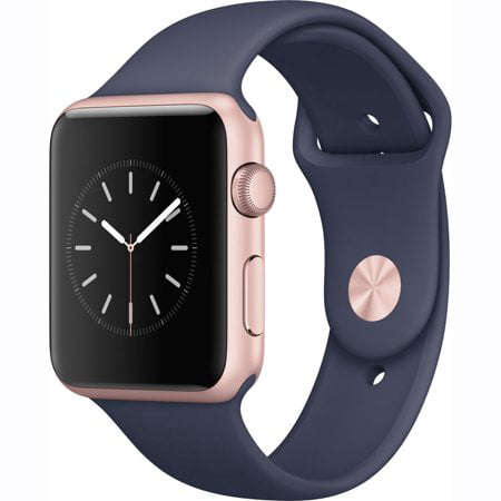 Refurbished Watch Series 1 Apple 42mm Rose Gold Aluminum Case Midnight Blue Sport Band MNNM2LL/A