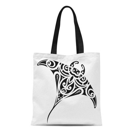 LADDKE Canvas Tote Bag Pattern Stingray Tattoo in Maori Ethnic Tribal Black Coloring Reusable Shoulder Grocery Shopping Bags