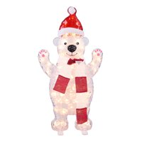 Holiday Time Light-up Standing Icy Polar Bear Decoration, 30""