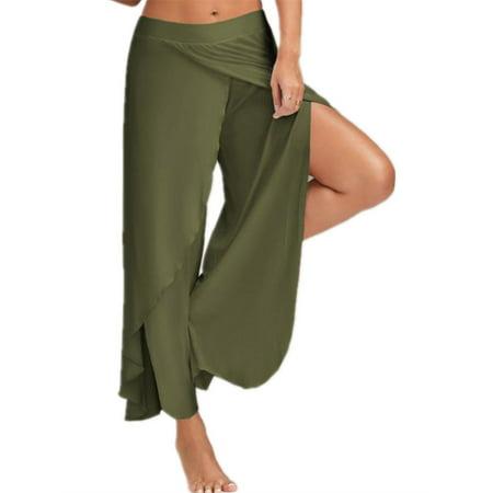 18dc139da37 SySea - Double Layers Chiffon Pants Summer Women Split Flared Trousers -  Walmart.com