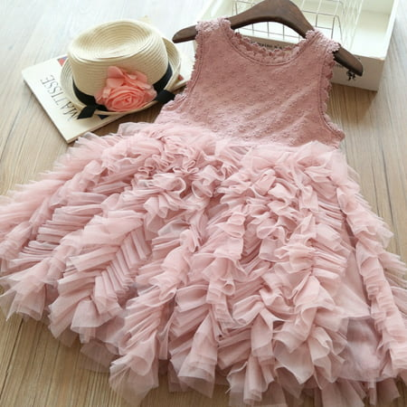 Fancy Toddler Kids Baby Girl Flower Dress Lace Tutu Party Gown Pageant Dress Sundress