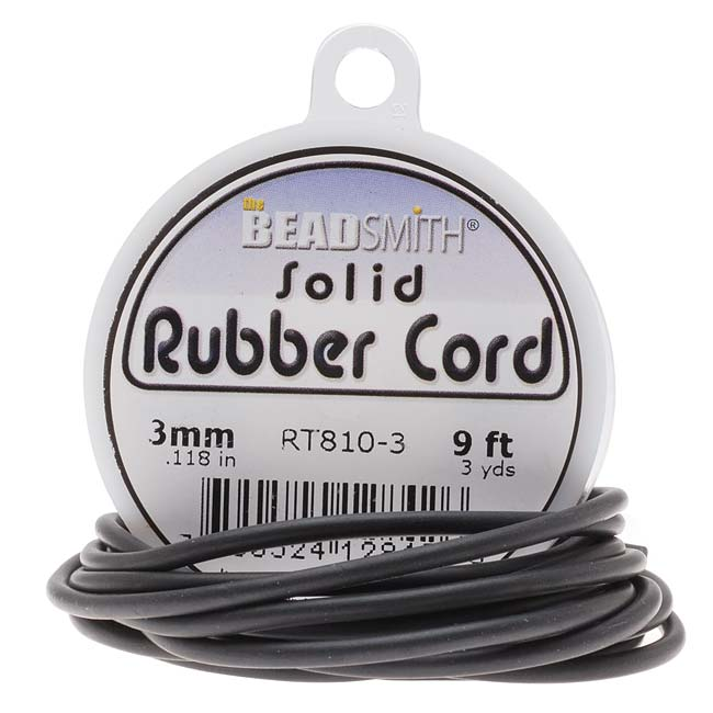 Beadsmith Black Solid Rubber Cord For Jewelry & Crafts 3mm / 9ft Spool