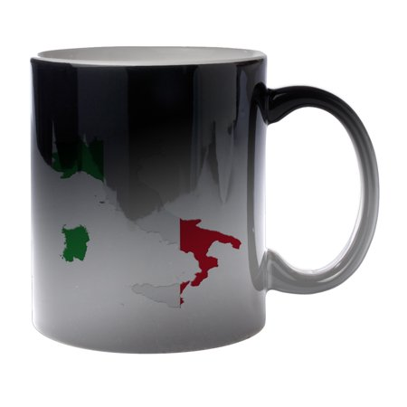 Italy Italia World Cup - KuzmarK Black Heat Morph Color Changing Coffee Cup Mug 11 Ounce - Italy