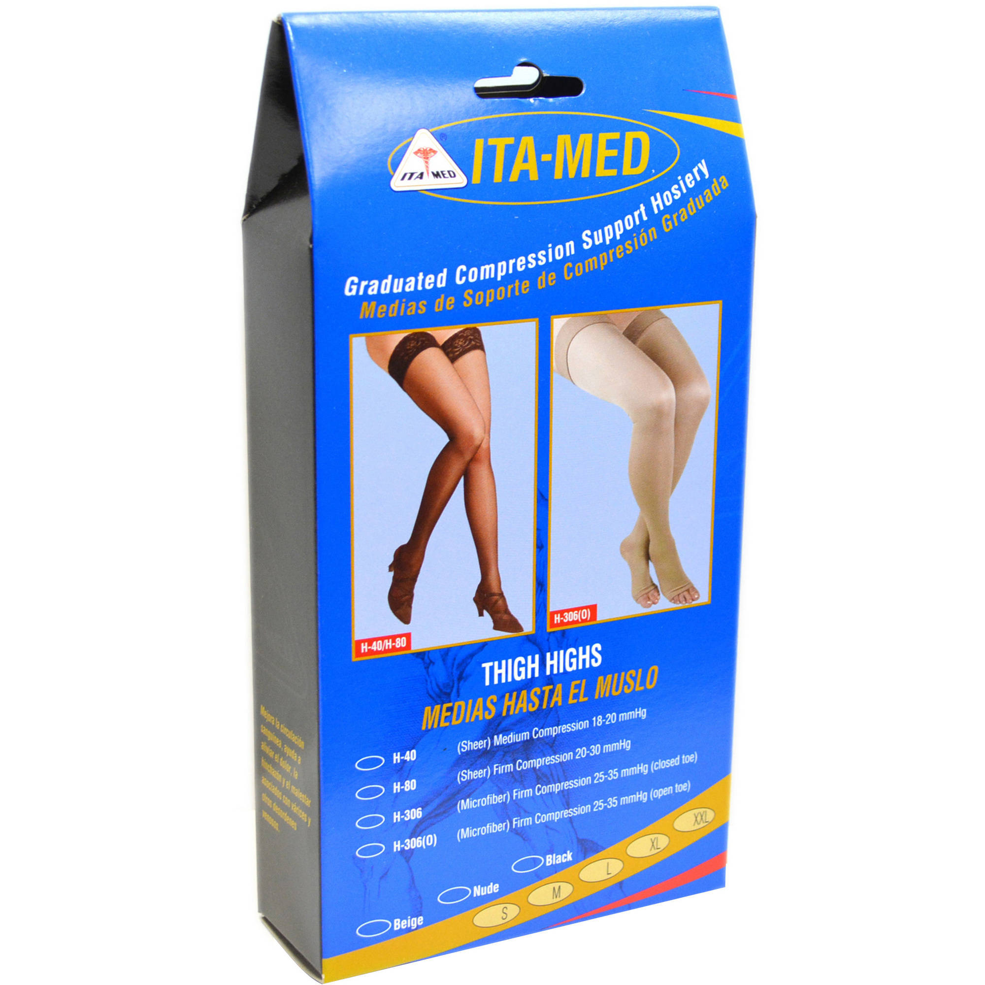 ITA-MED Sheer Thigh Highs - Compression (20-22 mmHg): H-40