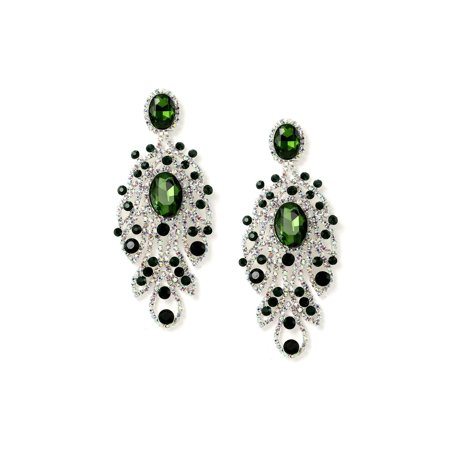 Silver Emerald Green 2 Oval Shape with Crystal Rhinestone Web & Small Emerald Green Accents Dangle Earrings