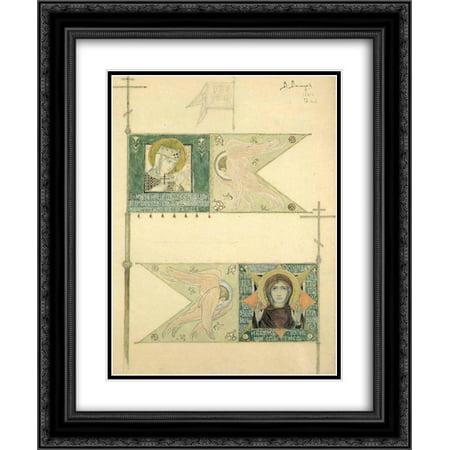 Viktor Vasnetsov 2x Matted 20x24 Black Ornate Framed Art Print 'Drawing for banners (Matt Banner)