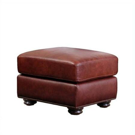 abbyson living harbor semi aniline leather ottoman in. Black Bedroom Furniture Sets. Home Design Ideas