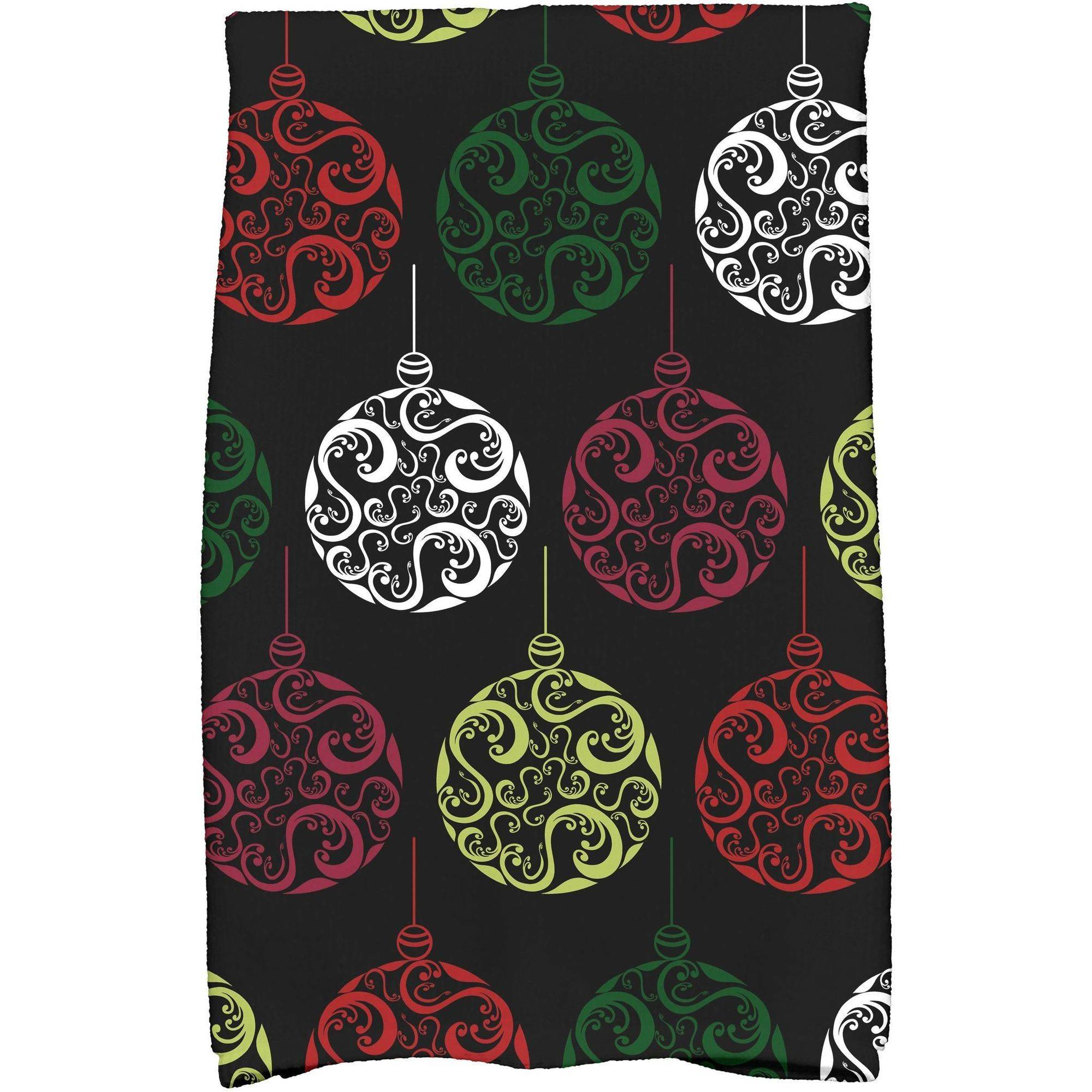"Simply Daisy 16"" x 25"" Painterly Bulbs Holiday Geometric Print Kitchen Towel"