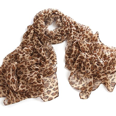 Chicastic Leopard Print Chiffon Scarf Wrap Stole Shawl - Lt Brown