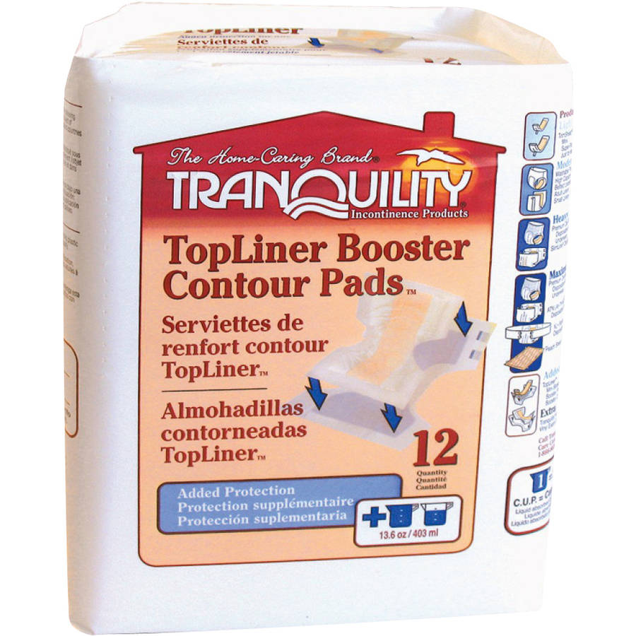 Tranquility TopLiner Booster Contour Pads Incontinence Booster Pad, 12 count