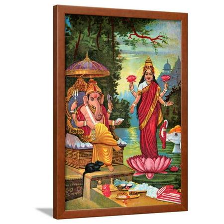 Hindu God Ganesha with Hindu Goddess Lakshmi Framed Print Wall Art ...