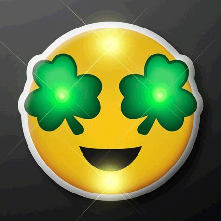 St Patrick's Day Irish Shamrock Eyes Emoji Flashing Body Light Lapel Pins by Blinkee - Shamrock Pin