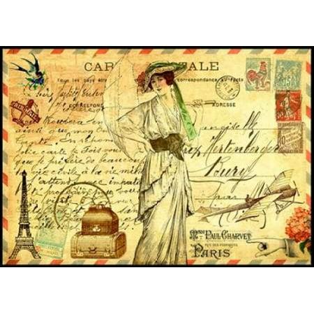 Vintage Paris Postcard Mademoiselle Poster Print by Marion De (Signed Vintage Postcard)