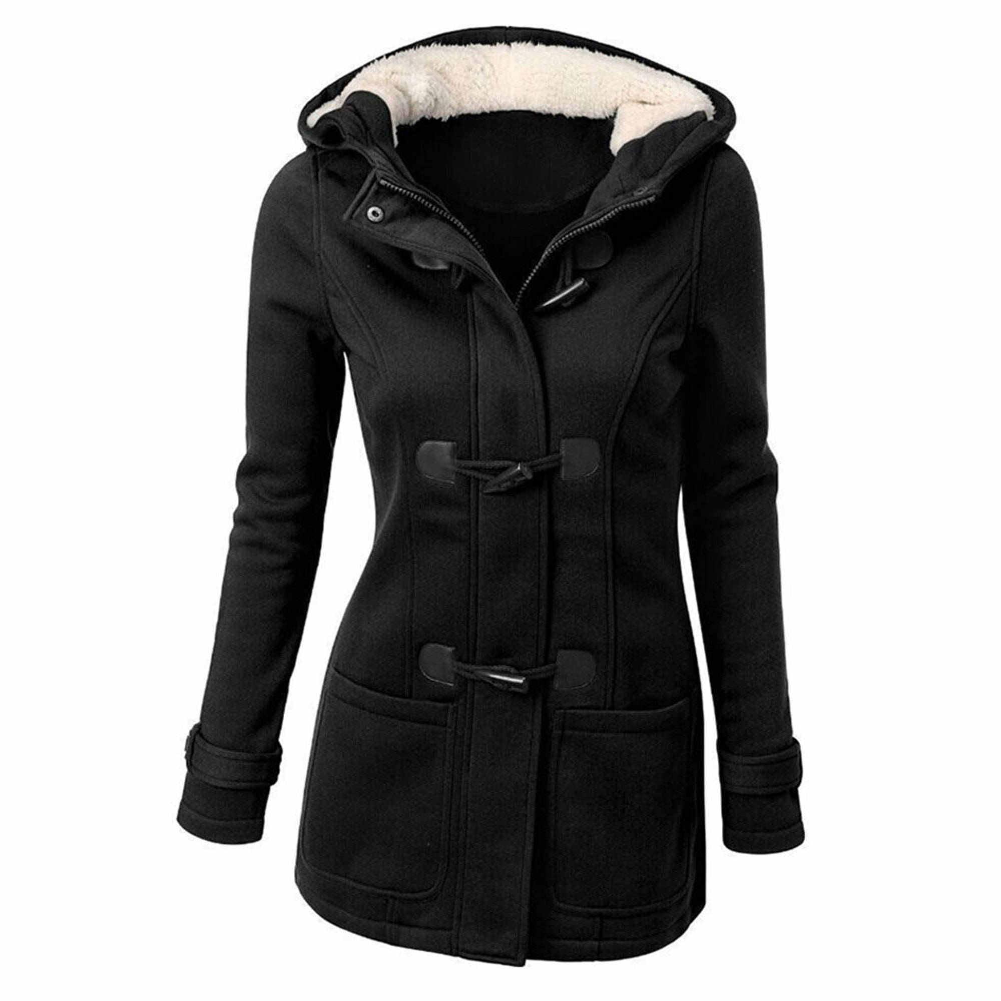 Women Hooded Warm Winter Coats Faux Fur Lined Parkas Cotton ...
