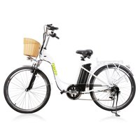 """NAKTO Camel White 26"""" City Electric Bicycle Women without Plastic Basket"""