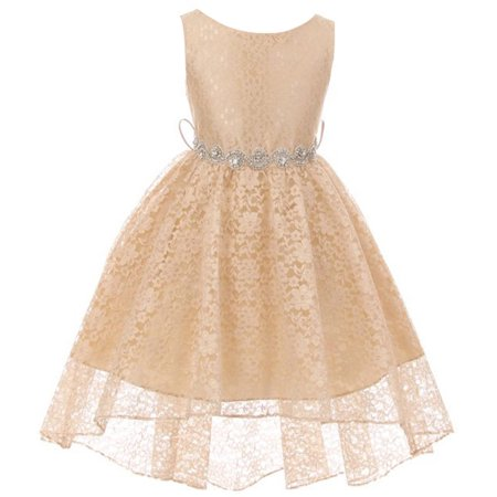 Girls Special Occasion Dresses Cheap (Little Girls Floral Lace High Low Rhinestones Special Occasion Flower Girl Dress Champagne 4 )