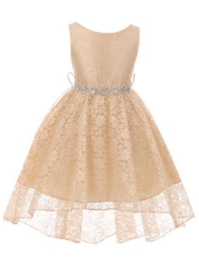e5e4efbaf Product Image Little Girls Floral Lace High Low Rhinestones Special  Occasion Flower Girl Dress Champagne 4 (M3B6K0S