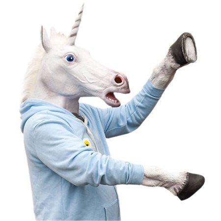 Novelty Unicorn Head Latex Mask Plus Unicorn Hooves Gloves (Halloween Wolf Mask And Gloves)