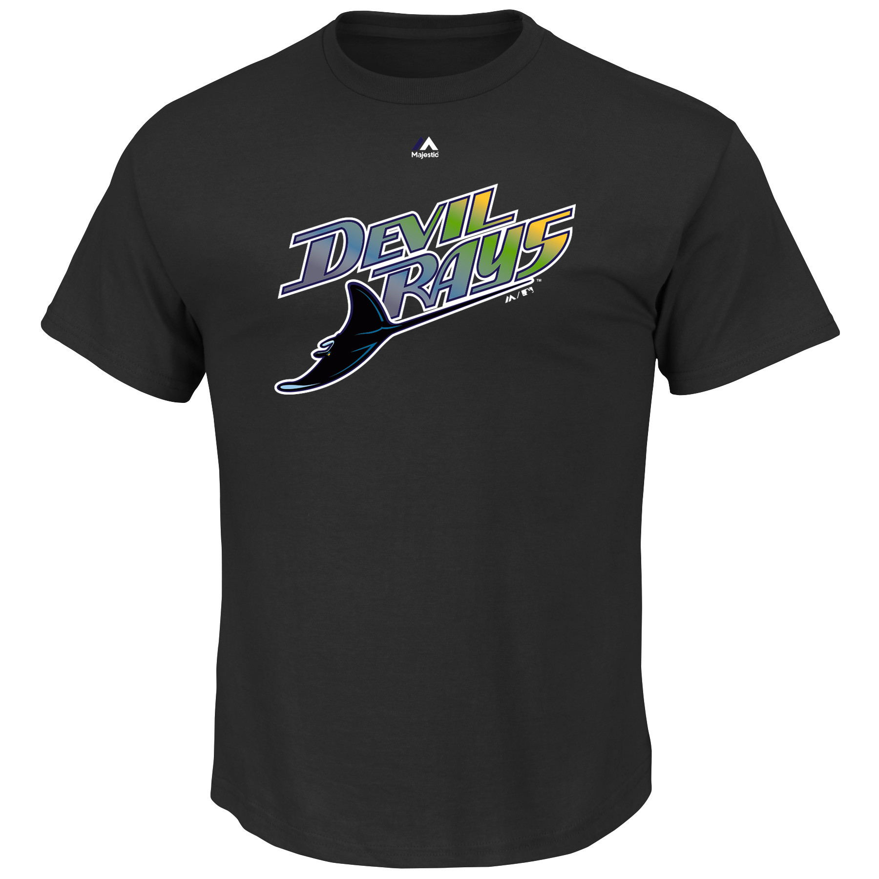 Tampa Bay Rays Majestic Big & Tall Cooperstown Logo T-Shirt - Black
