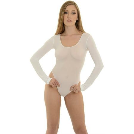 ea42f15c9d SummitFashions - Teddy Opaque Bodysuit SeXy Long Sleeve Black or White -  Walmart.com