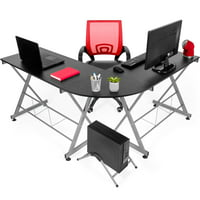 Best Choice Products Modular L-Shape Desk Workstation with Wooden Tabletop Keyboard Tray