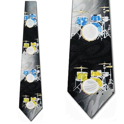 Drum Set Yellow and Blue Necktie Mens Tie by -