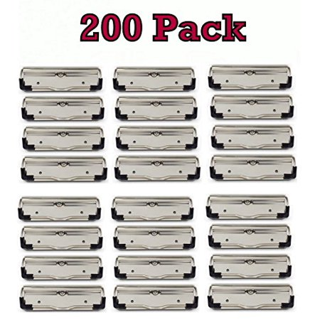 Bulk Pack of Low Profile Clipboard clips with Rubber Feet, holds half inch of paper, LPCx100 (200 Pack) - Mini Clipboards Bulk