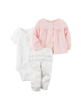 Carters Baby Girls 3-Piece Babysoft Little Jacket Set Pink