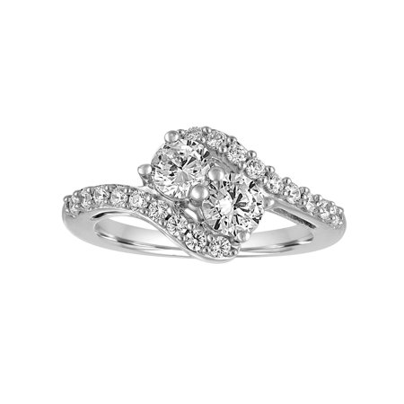 Simulated Diamond Sterling Silver 2-Stone Fashion Ring