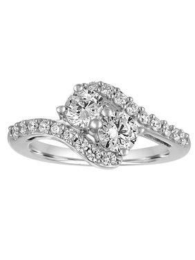 Simulated Diamond Sterling Silver 2-Stone Fashion Ring