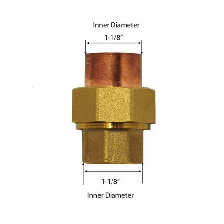 Libra Supply 1 inch Lead Free Copper Sweat Union C x C (Copper + Brass + Copper) Solder Joint, (click in for more size options)1'' Copper Pressure Pipe Fitting Plumbing Supply