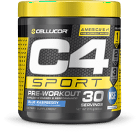 Cellucor C4 Sport Pre Workout Energy Powder, Blue Raspberry, 30 Servings