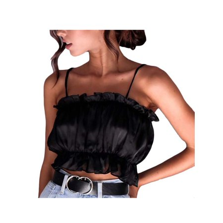 Women's Strappy Slip Crop Tops Ruffle Sling Casual Stretch Blouse Clubwear