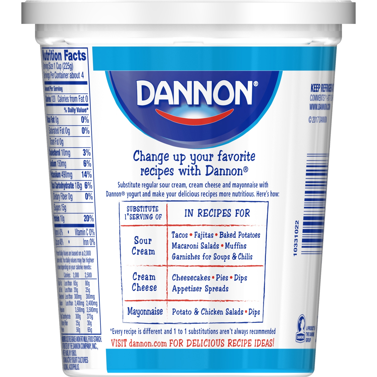 dannon plain all natural nonfat yogurt, 32 oz - walmart