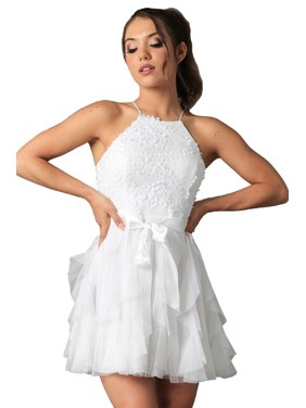 5434e5d8d22 Product Image Teeze Me | Halter Top Glitter Ruffle Dress | Off-White