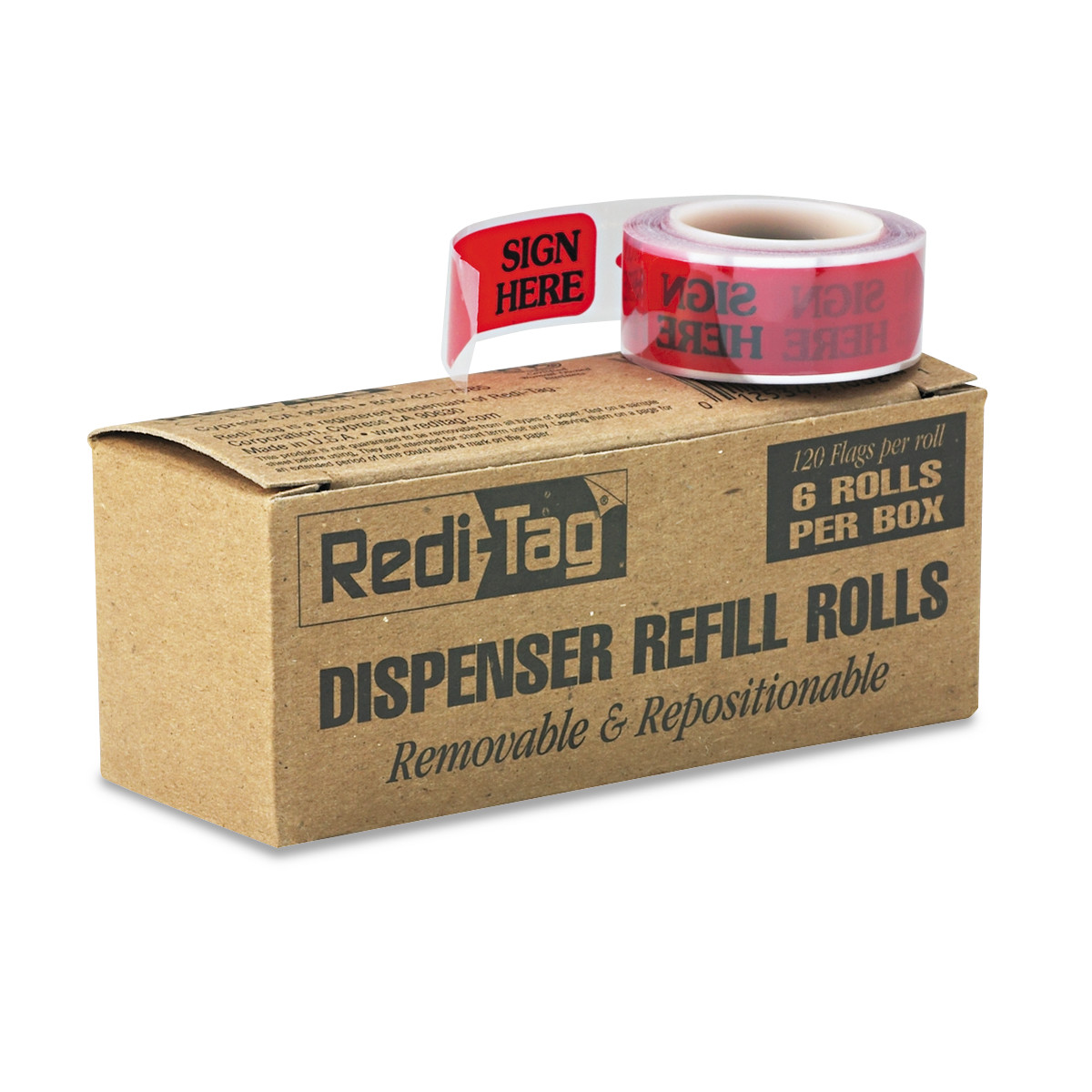 "Redi-Tag Arrow Message Page Flag Refills, ""Sign Here"", Red, 6 Rolls of 120 Flags/Box -RTG91002"